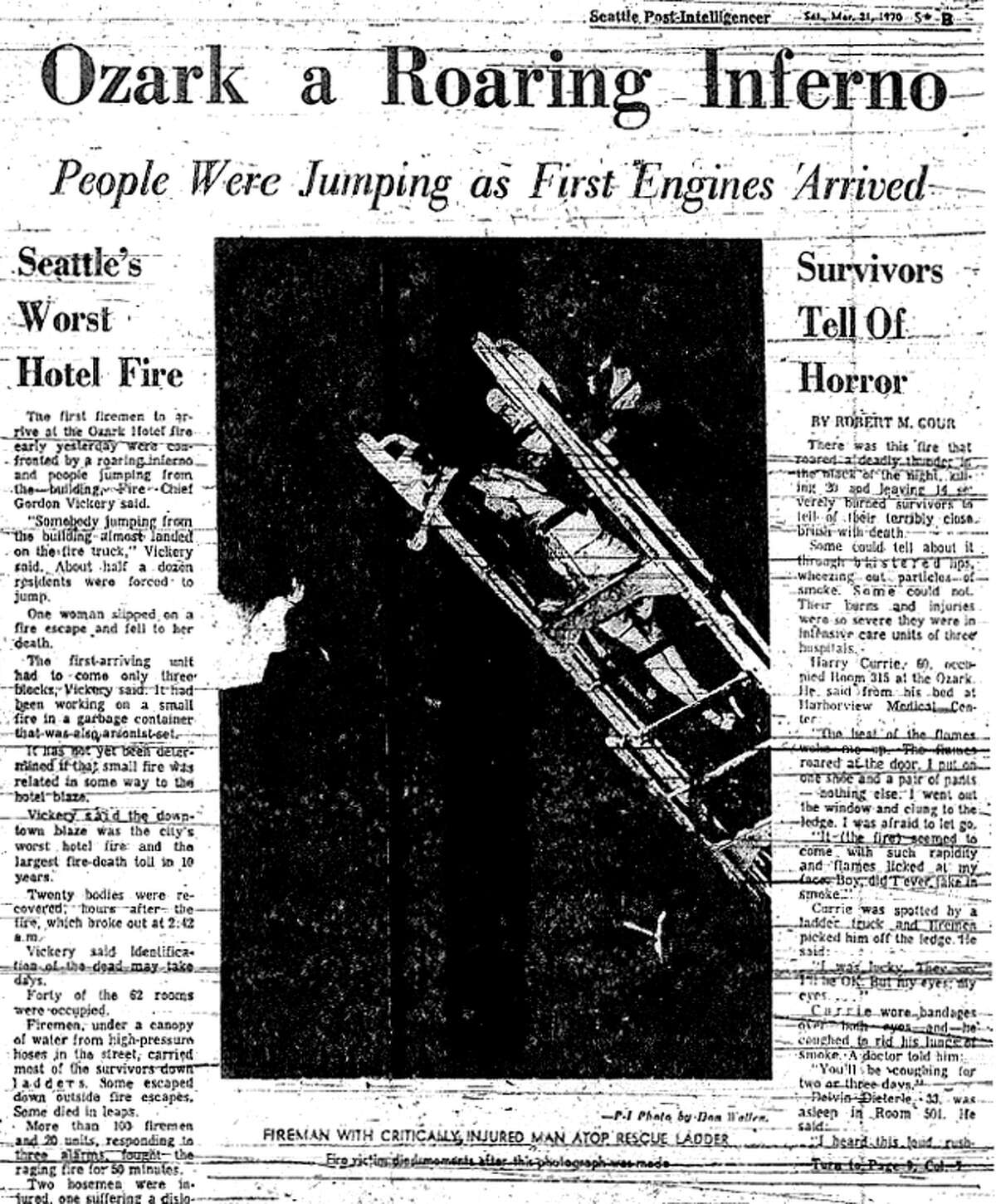 More coverage of the March 1970 Ozark Hotel fire that killed 21 people. At least one woman died after falling from a fire escape.