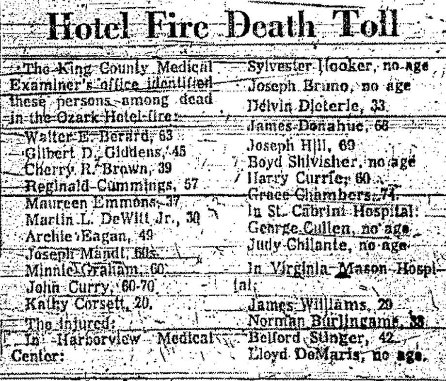 The first day death toll from the Ozark Hotel fire in Seattle. Additional victims were named later. Photo: Seattlepi.com