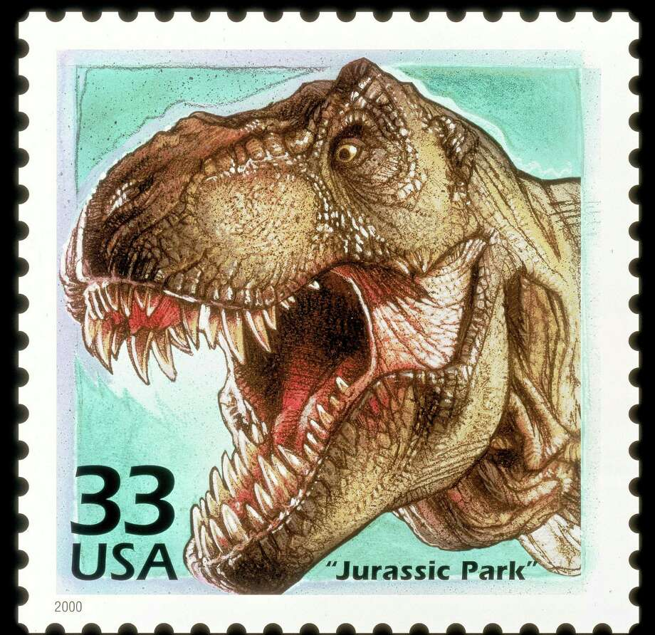 This postage stamp, released in 2000, honored 'Jurassic Park.' Photo: Getty Images / Getty Images North America