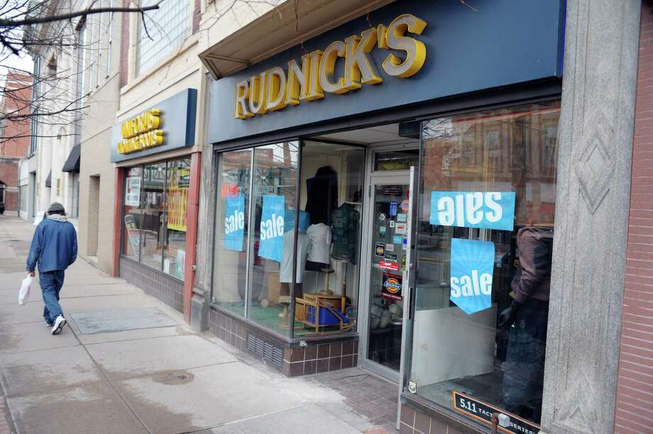 A view of Rudnick's clothing store on State St.  on Monday, April 1, 2013 in downtown Schenectady, NY.  The store is closing after 72 years in business.  (Paul Buckowski / Times Union) Photo: Paul Buckowski