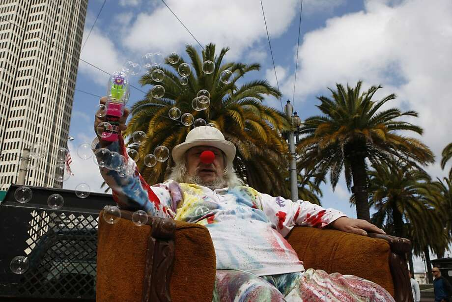 Wavy Gravy makes bubbles during the 35th annual St. Stupid's Day parade starting at Justin Herman Plaza in San Francisco, California, on Monday, April 1, 2013. Photo: Liz Hafalia, The Chronicle
