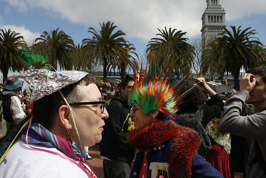 Participants meet at Justin Herman Plaza for the 35th annual St. Stupid's Day parade in San Francisco, California, on Monday, April 1, 2013. Photo: Liz Hafalia, The Chronicle