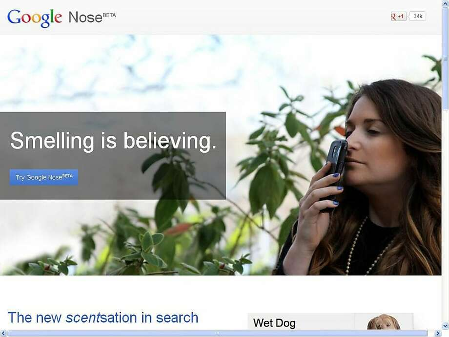 Google Nose was one of several fake products touted on April Fool's Day. Photo: Google
