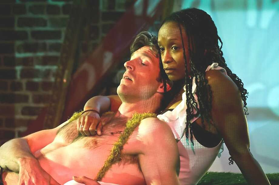 """Baritone Anders Frohlich (l.) as Gauguin and soprano Shawnette Sulker as his Inner Voice in Fabrizio Carlone's """"Bonjour M. Gauguin"""" at West Edge Opera Photo: Chelsea Rowe"""