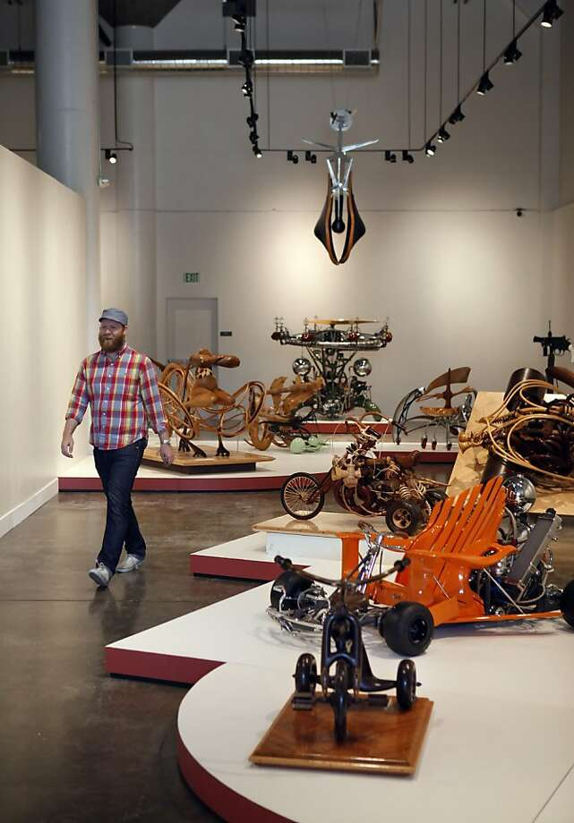 Store manager Nathaniel Anderson takes a stroll through the Museum of Craft and Design's cavernous new digs. Photo: Carlos Avila Gonzalez, The Chronicle
