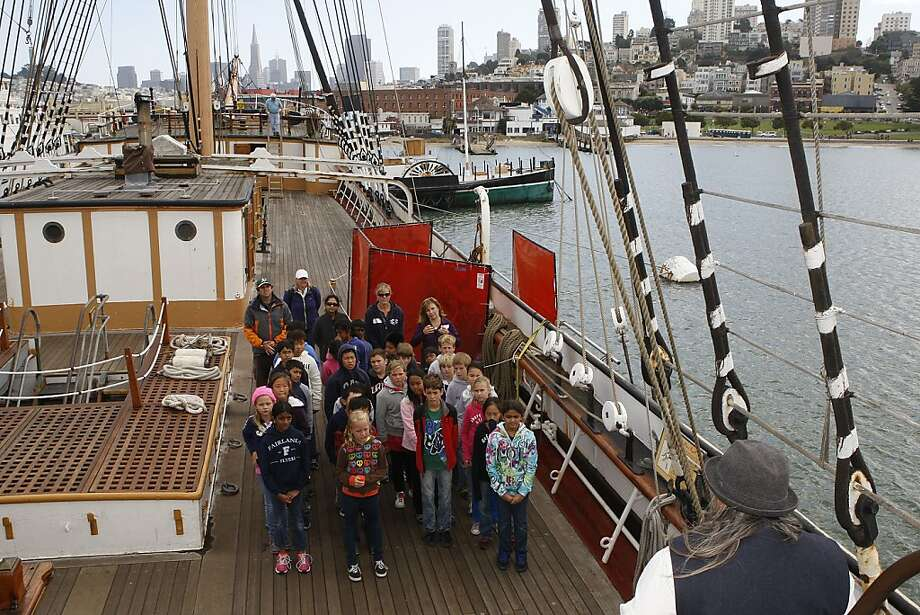 Fifth-graders from Fairlands Elementary in Pleasanton get their sea legs with a visit to the Balclutha at the Hyde Street Pier. Photo: Liz Hafalia, The Chronicle