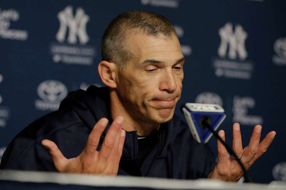 New York Yankees manager Joe Girardi reacts to a question during a news conference before an opening day baseball game against the Boston Red Sox, Monday, April 1, 2013, in New York. (AP Photo/Matt Slocum) Photo: Matt Slocum