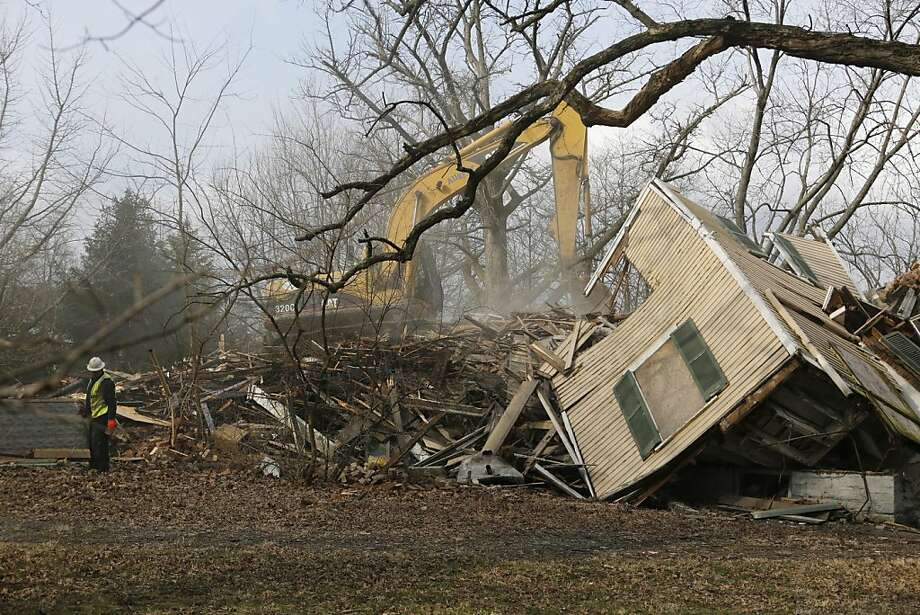 Demolition of the historic home of James N. Gamble is underway Monday morning Akpril 1, 2013 in Westwood, Ohio. James N. Gamble was the inventor of ivory soap. Before the morning ended, the house was a pile of rubble.  Photo: Carrie Cochran, Associated Press