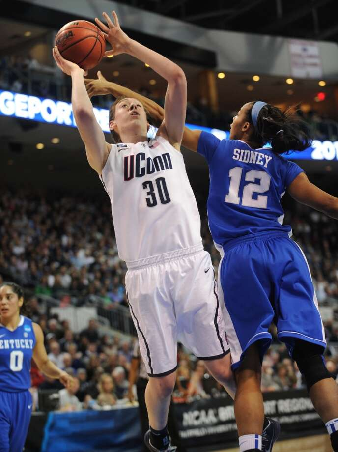 UConn's Breanna Stewart drives to the basket during their 83-53 victory over Kentucky in the elite eight round of the NCAA Women's Basketball Tournament at the Webster Bank Arena in Bridgeport, Conn. on Monday, April 1, 2013.