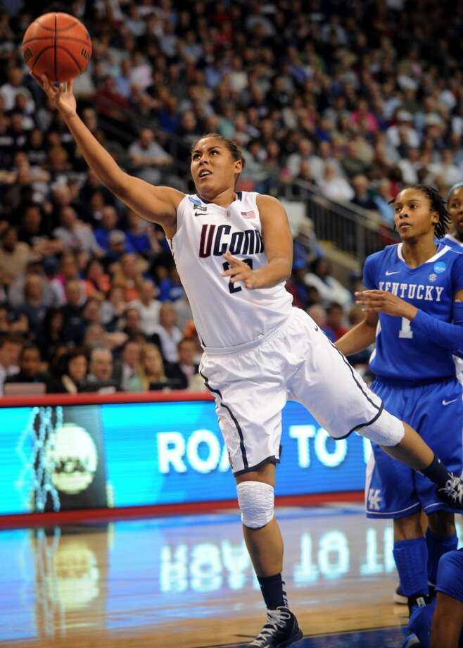 UConn's Kaleena Mosqueda-Lewis drives to the basket during their 83-53 victory over Kentucky in the elite eight round of the NCAA Women's Basketball Tournament at the Webster Bank Arena in Bridgeport, Conn. on Monday, April 1, 2013.