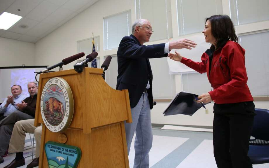 Secretary of the Interior Ken Salazar embraces Senator Maria Cantwell as the newly-designated San Juan Islands National Monument is celebrated on Monday, April 1, 2013 at the senior center in Anacortes. (Joshua Trujillo, seattlepi.com)