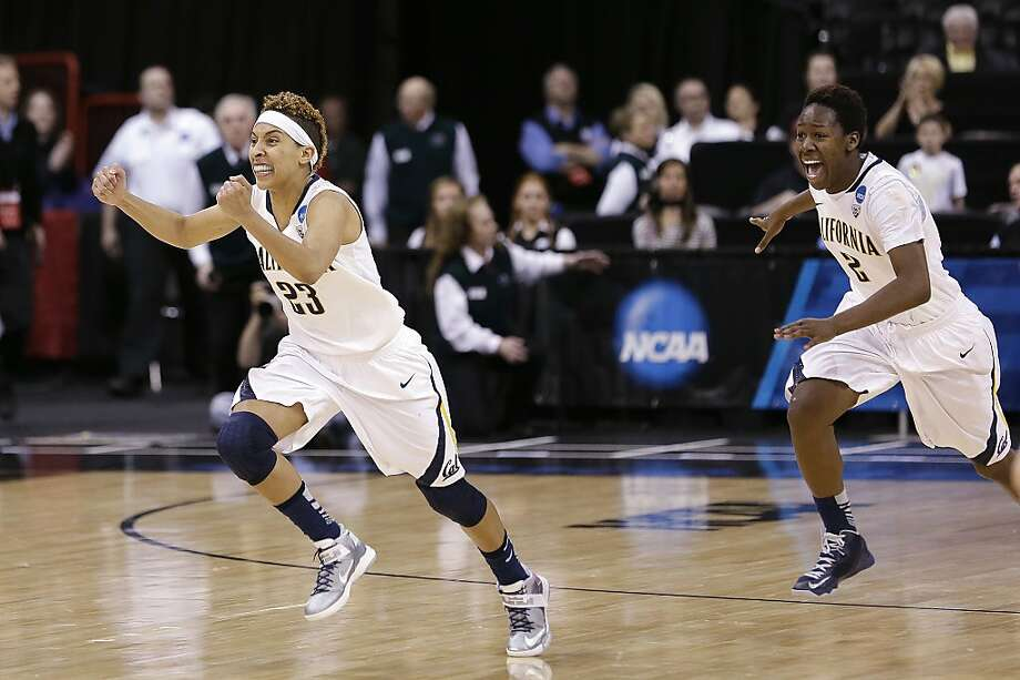 California's Layshia Clarendon, left, leads teammate Afure Jemerigbe off the court after the team beat Georgia in overtime in a regional final in the NCAA women's college basketball tournament, Monday, April 1, 2013, in Spokane, Wash. Cal won 65-62. (AP Photo/Elaine Thompson) Photo: Elaine Thompson, Associated Press