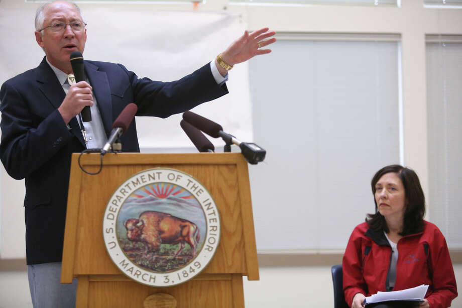Secretary of the Interior Ken Salazar speaks alongside Senator Maria Cantwell as the newly-designated San Juan Islands National Monument is celebrated on Monday, April 1, 2013 at the senior center in Anacortes. Photo: JOSHUA TRUJILLO / SEATTLEPI.COM