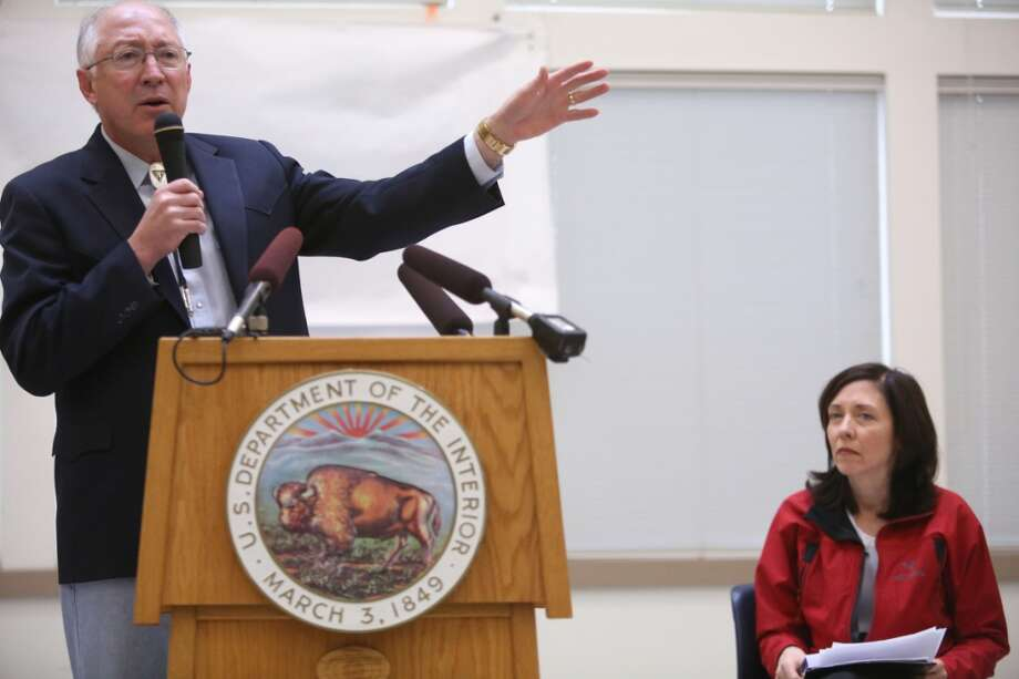 Secretary of the Interior Ken Salazar speaks alongside Senator Maria Cantwell as the newly-designated San Juan Islands National Monument is celebrated on Monday, April 1, 2013 at the senior center in Anacortes. (Joshua Trujillo, seattlepi.com)
