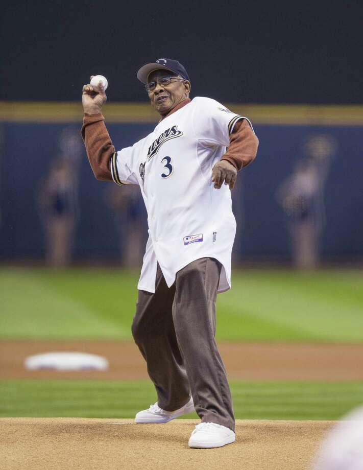 MILWAUKEE, WI - APRIL 1: James Beckum throws out the ceremonial first pitch before the start of the game between the Milwaukee Brewers and Colorado Rockies on opening day at Miller Park on April 1, 2013 in Milwaukee, Wisconsin. Photo: Tom Lynn, Getty Images / 2013 Getty Images