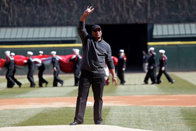 Former Chicago White Sox great Bo Jackson waves to the crowd before throwing the ceremonial first pi