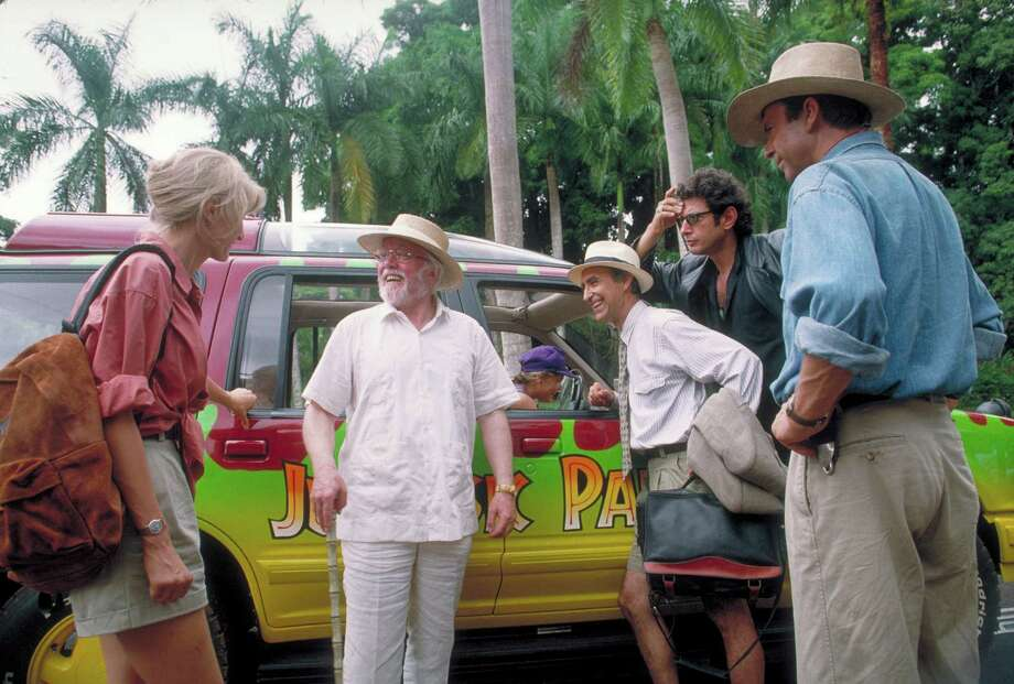 From left, actors Laura Dern as Dr. Ellie Sattler, Richard Attenborough as John Hammond, Martin Ferrero as Gennaro, Jeff Goldblum as Dr. Ian Malcolm and Sam Neill as Dr. Alan Grant, in a scene from the film 'Jurassic Park.' Photo: Murray Close, Getty Images / 2011 Murray Close