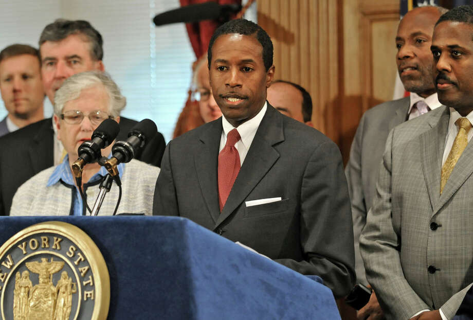 Senator Malcolm Smith speaks during a news conference at the Capitol after Gov. David Paterson named Richard Ravitch as lieutenant governor in Albany on July 8, 2009. Photo: LORI VAN BUREN, Times Union
