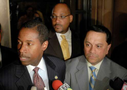 New York state Sens. Malcolm Smith, D-Queens, left; John Sampson, D-Brooklyn, center; and Pedro Espada, D-Bronx, speak with reporters after meeting with Gov. David Paterson at the Capitol in Albany, N.Y., on July 3, 2009. Photo: Tim Roske, AP / FR61503 AP