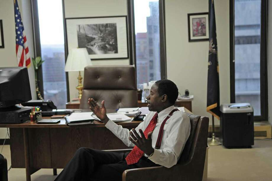 Senate Minority Leader Malcolm Smith talks about politics during an interview in his office in the Legislative Office Building in Albany on March 5, 2008. (PAUL BUCKOWSKI/TIMES UNION) Photo: Paul Buckowski, Hearst / Albany Times Union