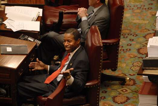 Senate Majority Leader Malcolm Smith is seen  on the floor of the Senate at the Capitol in Albany on April 1, 2009, as  debate on the budget continued.  (Paul Buckowski / Times Union) Photo: PAUL BUCKOWSKI, ALBANY TIMES UNION