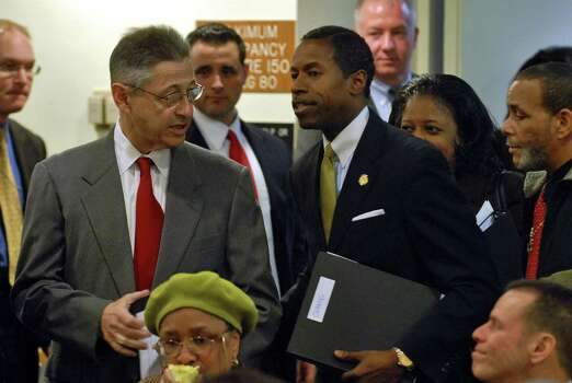 Assembly Speaker Sheldon Silver, left, greets Senate Majority Leader Malcolm Smith, right, to address the Community Health Care Association  of New York State Advocacy Day in Albany on March 2, 2009, after Smith had finished his own address and was departing. (Philip Kamrass / Times Union) Photo: PHILIP KAMRASS, ALBANY TIMES UNION / 00002691A