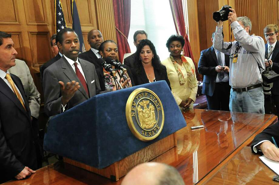 Senate Majority Leader Malcolm Smith enters a news conference at the Capitol in Albany on June 8, 2009. Sen. Hiram Monserrate, along with Sen. Pedro Espada, joined the Republicans in the Senate to give control of the Senate back to the Republicans. Photo: LORI VAN BUREN/TIMES UNION, TIMES UNION