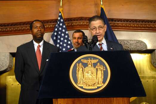 Senate Majority Leader Malcolm Smith, left; Gov. David Paterson, center; and Assembly Speaker Sheldon Silver, right, hold a news conference at the Capitol on Monday, March 30, 2009, where the governor and the leaders talked about the agreement made and the details on the state budget. (Paul Buckowski / Times Union) Photo: PAUL BUCKOWSKI, ALBANY TIMES UNION / 00003143A