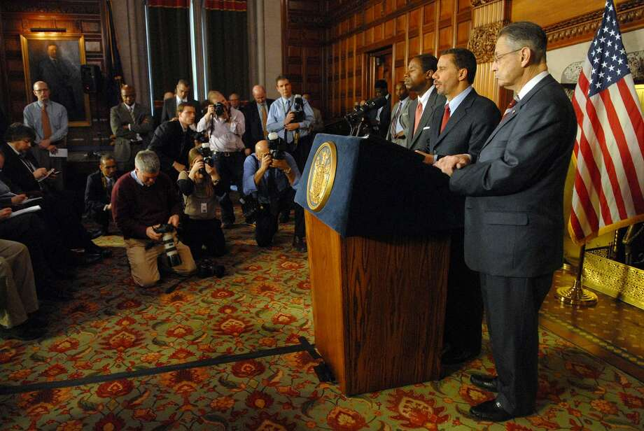 Senate Majority Leader Malcolm Smith, left; Gov. David Paterson, center; and Assembly Speaker Sheldon Silver, right, hold a news conference at the Capitol on Monday, March 30, 2009, where the governor and the leaders talked about the agreement made and the details on the state budget.(Paul Buckowski / Times Union) Photo: PAUL BUCKOWSKI, ALBANY TIMES UNION / 00003143A