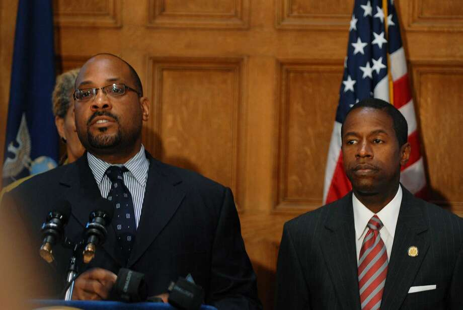 Democrat Sen. John Sampson, left, and Sen. Malcolm Smith, right, hold a news conference at the Capitol onJune 16, 2009, after the state Supreme Court's dismissal of the case the Democrats filed to fight the change of leadership to the Republicans in the Senate.   (Paul Buckowski / Times Union) Photo: PAUL BUCKOWSKI, ALBANY TIMES UNION