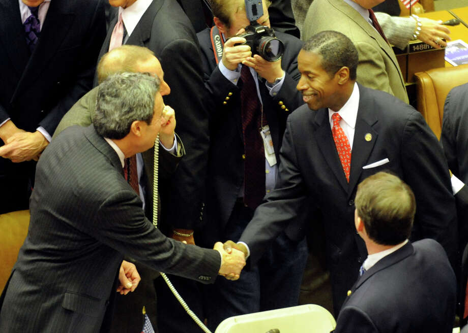 Assembly Majority Leader Ronald Canastrari greets his counterpart in the Senate, Majority Leader Malcolm Smith, before State of the State in the Assembly Chamber at the Capitol in Albany on Janaury 7, 2009. Photo: SKIP DICKSTEIN, TIMES UNION / 00001919C