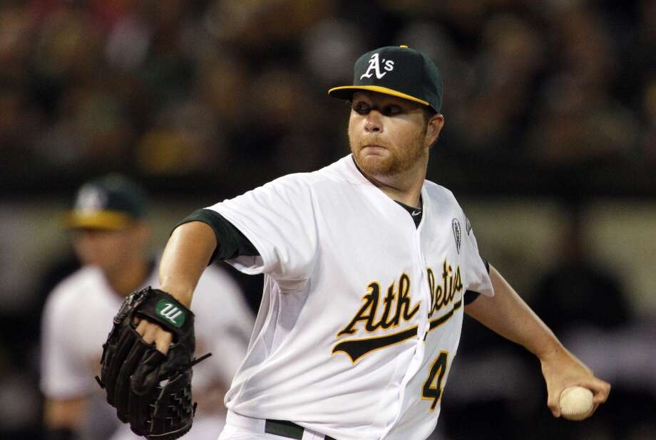 Brett Anderson pitched for the A's in their opener. The Oakland Athletics played their 2013 home opener against the Seattle Mariners at O.co Coliseum in Oakland, Calif., on Monday, April 1, 2013. Photo: Carlos Avila Gonzalez, The Chronicle / ONLINE_YES