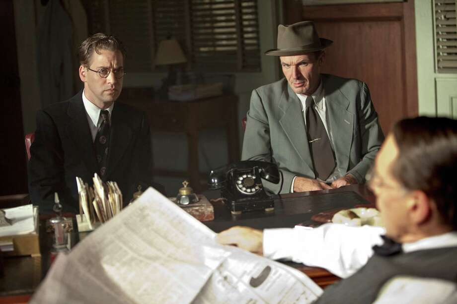 "T.R. Knight as Harold Parrott, Toby Huss as Clyde Sukeforth and Harrison Ford as Branch Rickey in ""42."" Photo: D. Stevens, Warner Brothers / © 2013 Legendary Pictures Productions LLC"