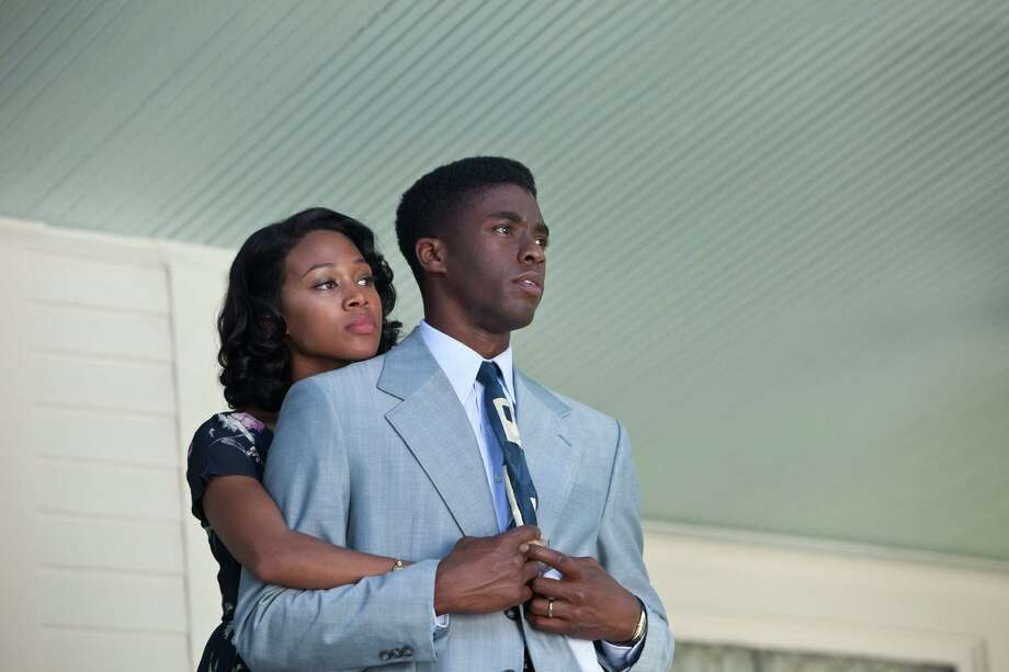 "Nicole Beharie as Rachel Robinson and Chadwick Boseman as Jackie Robinson in ""42."" Photo: D. Stevens, Warner Brothers / © 2013 Legendary Pictures Productions LLC"