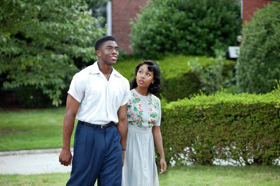 "Chadwick Boseman as Jackie Robinson and Nicole Beharie as Rachel Robinson in ""42."" Photo: D. Stevens, Warner Brothers / © 2013 Legendary Pictures Productions LLC"