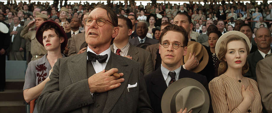 "Harrison Ford as Branch Rickey and T.R. Knight as Harold Parrott in ""42."" Photo: Courtesy Of Warner Bros. Picture, Warner Brothers / © 2013 Legendary Pictures Productions LLC"