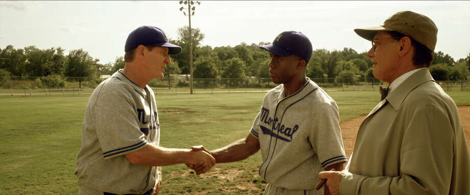 "Brett Cullen as Clay Hopper, Chadwick Boseman as Jackie Robinson and Harrison Ford as Branch Rickey in ""42."" Photo: Courtesy Of Warner Bros. Picture, Warner Brothers / © 2013 Legendary Pictures Productions LLC"