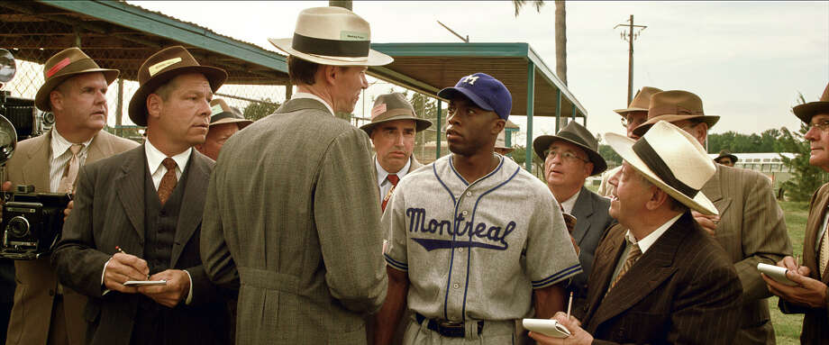 "Chadwick Bosemanas Jackie Robinson in ""42."" Photo: Courtesy Of Warner Bros. Picture, Warner Brothers / © 2013 Legendary Pictures Productions LLC"