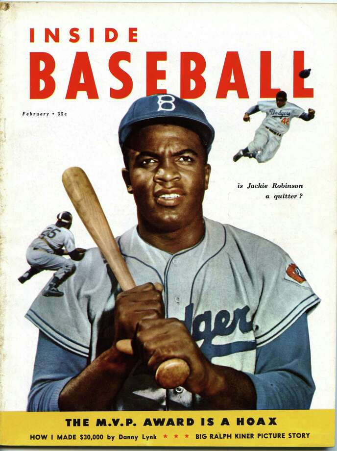 Two color images of Jackie Robinson #42 of the Brooklyn Dodgers graces the front cover of Inside Baseball magazine in February, 1953 published by Weider Publications, Inc. in Jersey City, New Jersey. Photo: Diamond Images, File / 1953 Diamond Images