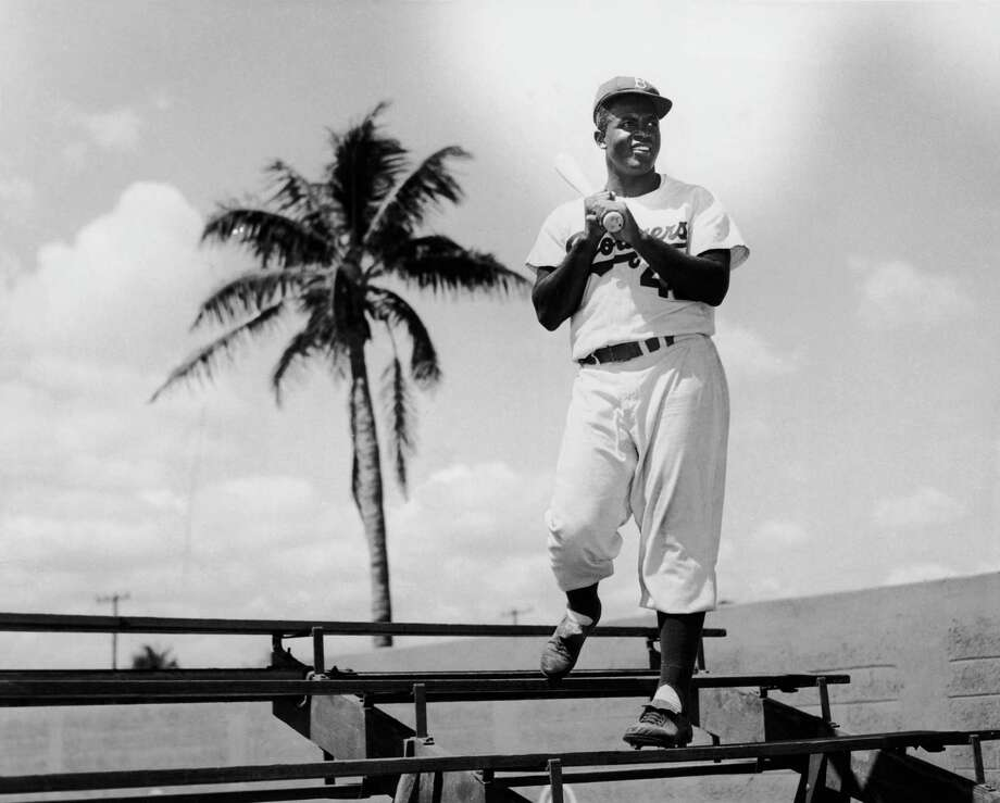 American baseball player Jackie Robinson of the Brooklyn Dodgers in Miami, Florida, circa 1950. Photo: Archive Photos, File / 2006 Getty Images