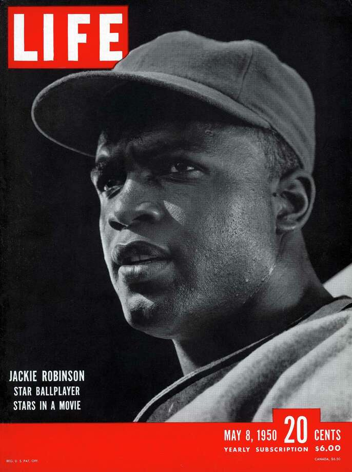 The cover of Life magazine features a portrait of American baseball player Jackie Robinson during the filming of 'The Jackie Robinson Story,' a movie about his career, California, May 8, 1950. Photo: J. R. Eyerman, File / Time & Life Pictures