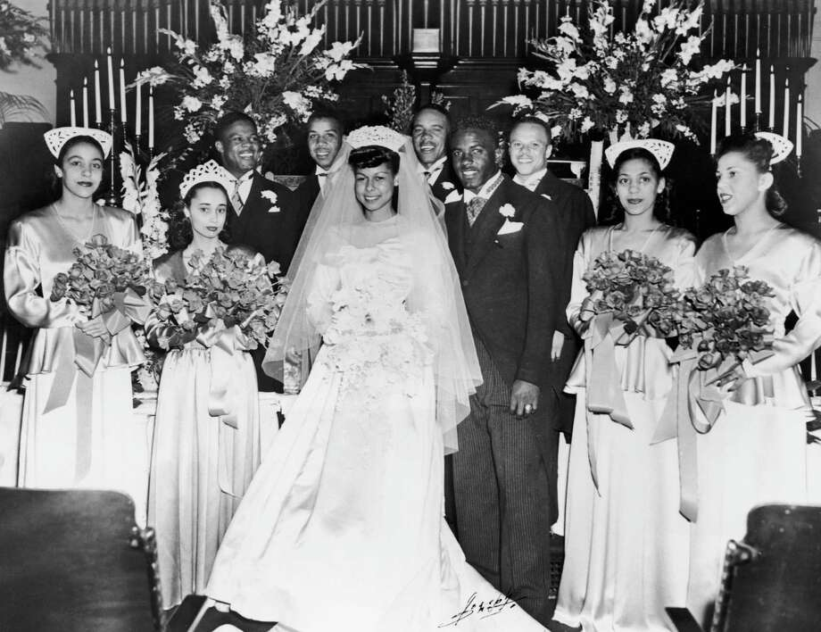American baseball player Jackie Robinson marries Rachel Isum at the Independent Church in Los Angeles in 1946. Photo: Archive Photos, File / 2006 Getty Images