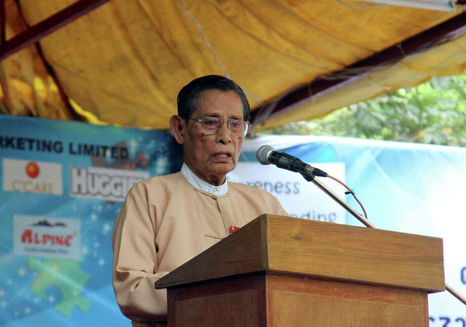 Tin Oo, senior leader of Myanmar Opposition Leader Aung San Suu Kyi's National League for Democracy (NLD) party, speaks during a ceremony of World Autism Awareness Day at people square in Yangon, Myanmar, Tuesday, April 2, 2013. Photo: Associated Press / AP