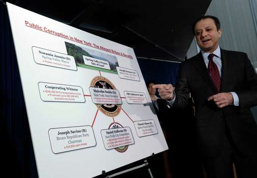 U.S. Attorney Preet Bharara uses a chart during a news conference, in New York,  Tuesday, April 2, 2013, to explain that a New York state lawmaker was arrested Tuesday along with several other politicians, in an alleged plot to bribe his way into the race for mayor of New York City. Democratic state Sen. Malcolm Smith tried to pay off some of New York City's Republican party bosses to get himself on the ballot as a GOP candidate, federal prosecutors said. (AP Photo/Richard Drew) Photo: Richard Drew