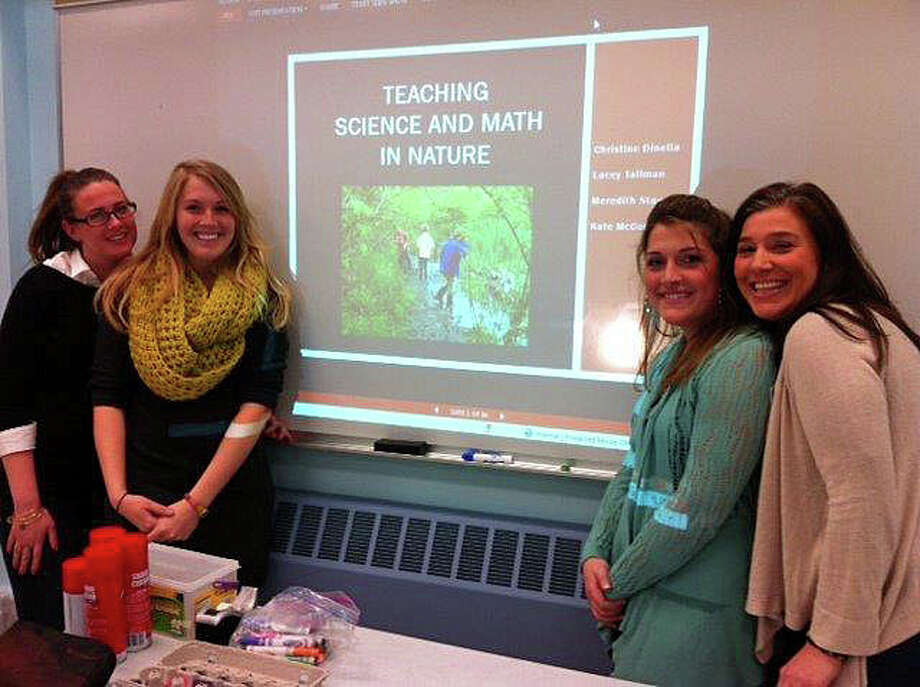 From left, New Canaan Nature Center Preschool teachers Kate McCormack, Meredith Staud, Lacey Tallman and Christine Dinella present a math/science workshop at Norwalk Community College. Photo: Contributed Photo