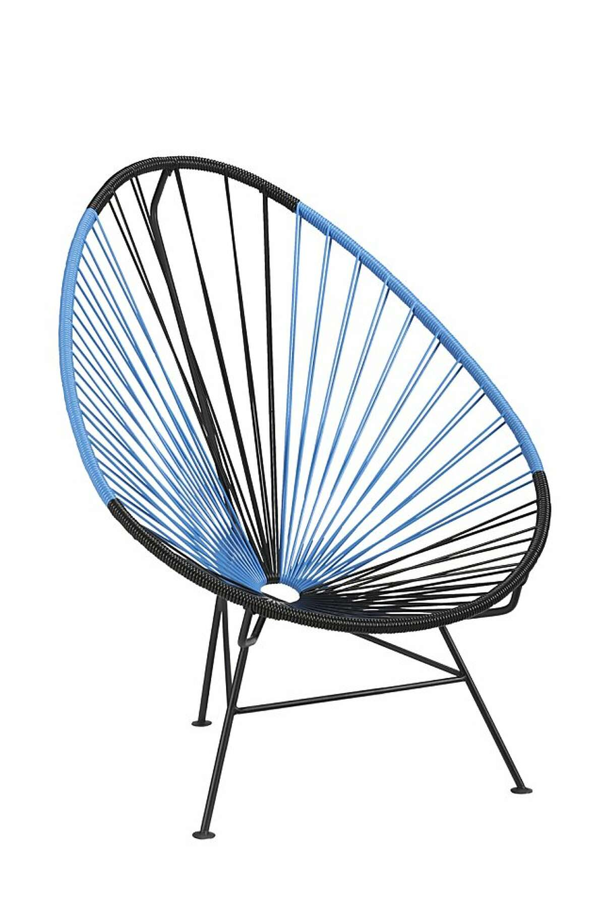 Less: $249 Acapulco black/blue lounge chair from CB2 (cb2.com)