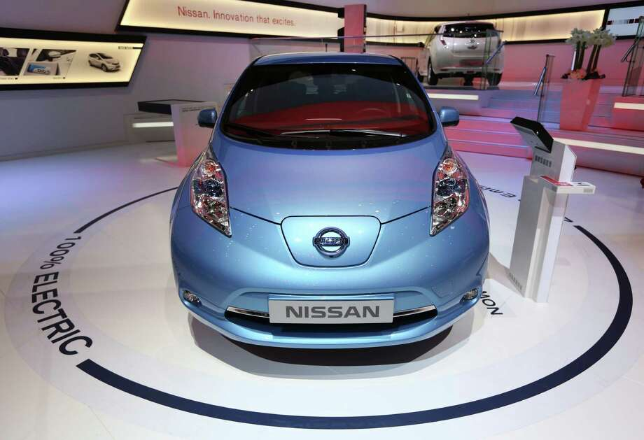 A Nissan Leaf electric automobile, produced by Nissan Motor Co., is seen on display on the second day of the 83rd Geneva International Motor Show in Geneva, Switzerland, on Wednesday, March 6, 2013. This year's show opens to the public on Mar. 7, and is set to feature more than 100 product premiers from the world's automobile manufacturers. Photographer: Chris Ratcliffe/Bloomberg Photo: Chris Ratcliffe, Bloomberg / Copyright 2013 Bloomberg Finance LP, All Rights Reserved.
