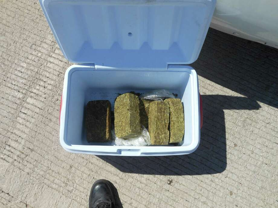 More than 14 pounds of marijuana was seized in the trunk of a car after a traffic stop in Stafford late last month. Photo: FBCOSO
