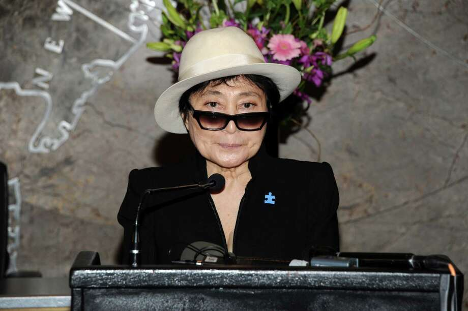 Global autism ambassador Yoko Ono speaks at the Empire State Building autism awareness month lighting on Tuesday April 2, 2013 in New York. Photo: Evan Agostini, Associated Press / Invision