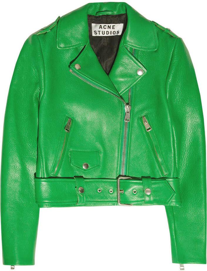 Acne Mape cropped leather jacket, $1,350, via Net-a-porter.com.